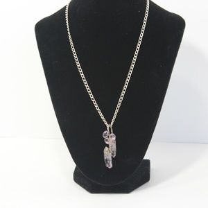 Jewelry - Vntg. Sterling Silver Necklace W/Amethyst Crystals